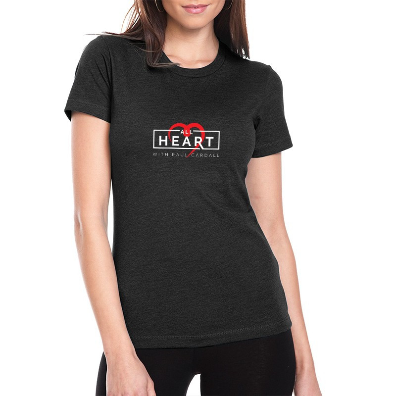 Paul Cardall Ladies Relax Fit Black All Heart Crew Neck Tee