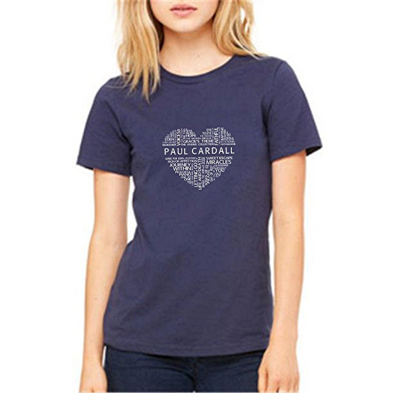 Paul Cardall Ladies Relax Fit Navy Word Heart Tee