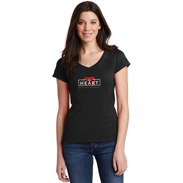 Paul Cardall Ladies Fitted Black All Heart V Neck Tee